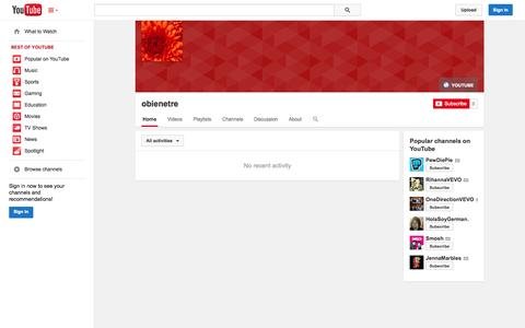 Screenshot of YouTube Page youtube.com - obienetre  - YouTube - captured Oct. 29, 2014