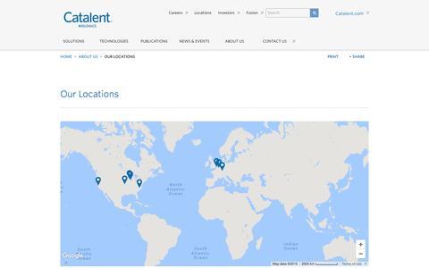 Screenshot of Locations Page catalent.com - Locations - captured Dec. 6, 2016
