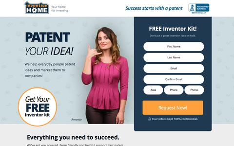 Screenshot of Landing Page inventionhome.com - Patent Your Idea | InventionHome - captured April 14, 2016
