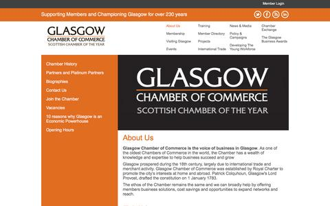 Screenshot of About Page glasgowchamberofcommerce.com - About Us - Glasgow Chamber of Commerce - captured Dec. 9, 2015