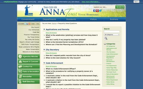 Screenshot of FAQ Page annatexas.gov - Anna, TX - Official Website - captured Oct. 2, 2014