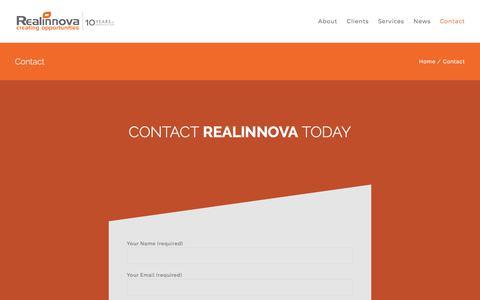 Screenshot of Contact Page realinnova.com - Contact – Realinnova - captured Nov. 12, 2017