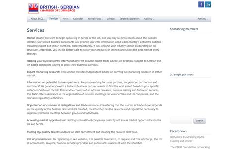 Screenshot of Services Page britserbcham.eu - Services - British-Serbian Chamber of Commerce - captured Nov. 23, 2016