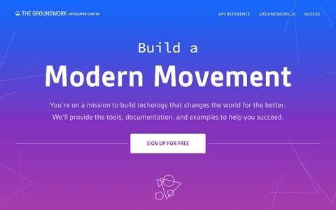 Screenshot of Developers Page thegroundwork.com - The Groundwork Developer Center - captured Jan. 27, 2017