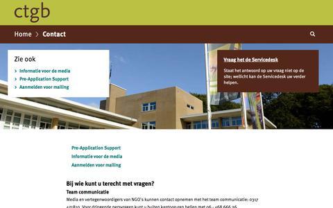 Screenshot of Contact Page ctgb.nl - Contact | College voor de toelating van gewasbeschermingsmiddelen en biociden - captured Oct. 13, 2017