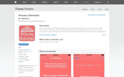 Screenshot of iOS App Page apple.com - Princess Hairstyles on the App Store on iTunes - captured Oct. 30, 2014