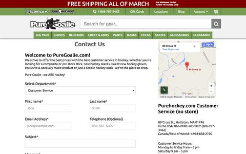 Screenshot of Support Page puregoalie.com - Contact Us - Pure Goalie - captured March 4, 2016