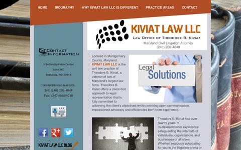 Screenshot of Press Page kiviat-law.com - Home - Kiviat Law LLC - Maryland Legal Solutions - captured Oct. 6, 2014