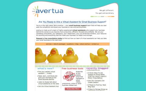 Screenshot of Home Page avertua.com - Virtual Assistant for Small Business Support - avertua - captured Oct. 4, 2014