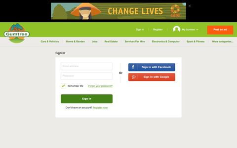 Screenshot of Login Page gumtree.com.au - Gumtree Australia | Free local classifieds. - captured Aug. 19, 2016