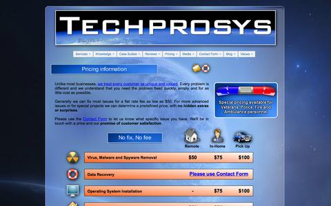 Screenshot of Pricing Page techprosys.com - Pricing for Data Recovery, Computer Repair, Virus Removal - captured Oct. 7, 2014
