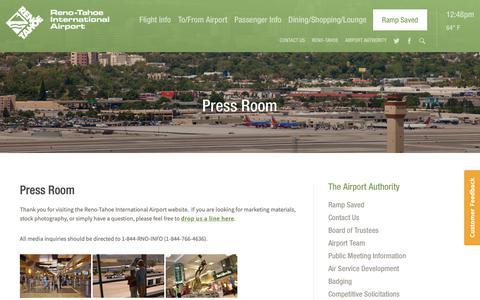 Screenshot of Press Page renoairport.com - Press Room | Reno-Tahoe International Airport - captured May 29, 2019