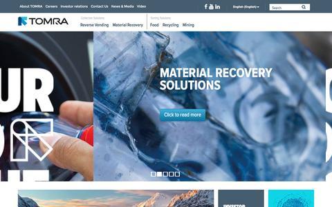 Screenshot of Home Page tomra.com - Sensor-based solutions for optimal resource productivity : TOMRA - captured Oct. 8, 2016