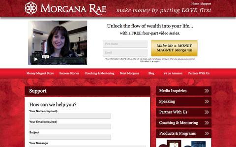 Screenshot of Support Page morganarae.com - Alchemy Help Desk for Customer Support - captured Nov. 2, 2014