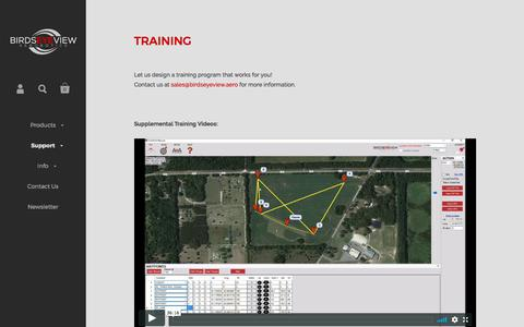 Screenshot of Support Page birdseyeview.aero - TRAINING – BirdsEyeView Aerobotics - captured Oct. 10, 2017