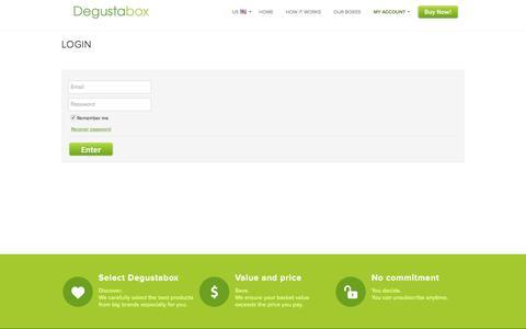 Screenshot of Login Page degustabox.com - Degustabox » Login - captured Sept. 25, 2016