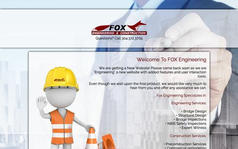 Screenshot of Home Page foxengineering.net - Fox Engineering and Construction, WV - captured Sept. 12, 2015