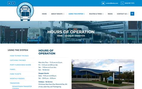 Screenshot of Hours Page bwbus.com - Hours of Operation – Blue Water Area Transit - captured Oct. 26, 2018