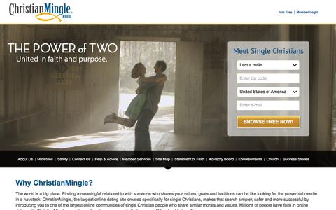 Screenshot of Home Page christianmingle.com - Christian Dating for Christian Singles | Join Free @ Christian Mingle - captured Nov. 5, 2015