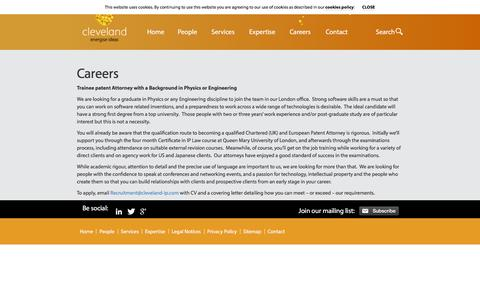 Screenshot of Jobs Page cleveland-ip.com - Careers «  Cleveland - captured Sept. 28, 2016