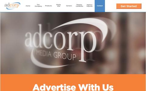 Screenshot of Contact Page neadcorp.com - Supermarket Advertising | Grocery Store Advertising | Shopping Cart Advertising | Adcorp Media Group | Advertise With Us - captured Feb. 16, 2016