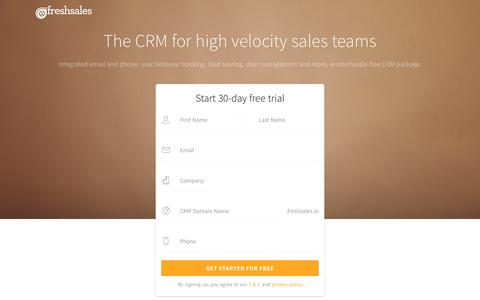 Screenshot of Landing Page freshsales.io - Freshsales CRM & Deal Management Software - captured Dec. 10, 2016