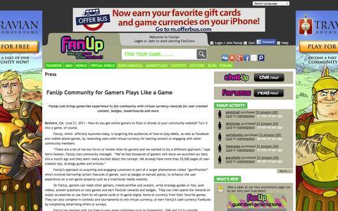 Screenshot of Press Page fanup.com - Virtual currency Rewards for Badges   Leaderboards - FanUp Community Press - FanUp Community - captured Sept. 19, 2014