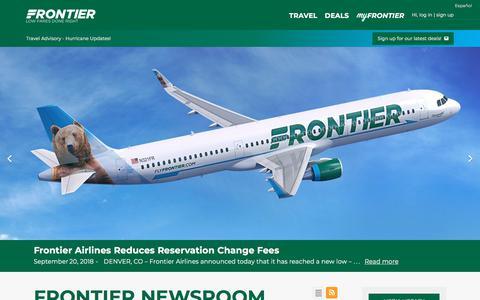 Screenshot of Press Page flyfrontier.com - Newsroom - captured Sept. 21, 2018