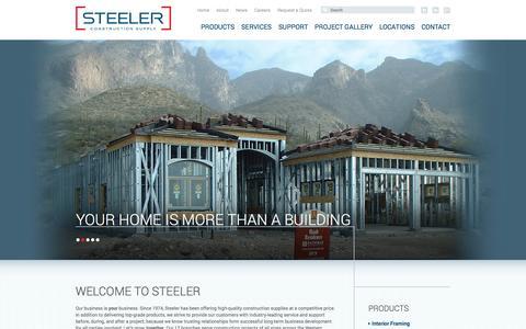 Screenshot of Home Page steeler.com - Welcome | Steeler Construction Supply - captured Oct. 7, 2014