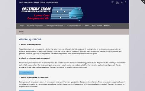 Screenshot of FAQ Page southerncrossaircompressors.com.au - FAQs Air Compressor Troubleshooting - captured Oct. 26, 2014