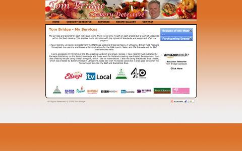 Screenshot of Services Page cookerydetective.com - Tom Bridge :: Cookery Detective - captured Oct. 26, 2014
