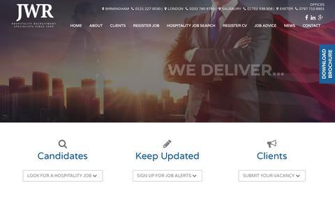 Screenshot of Home Page jwrecruitment.co.uk - James Webber Hospitality Recruitment Agency   Hospitality Jobs - captured Oct. 13, 2018