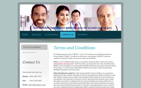 Screenshot of Terms Page msmbinc.com - Mainstream Services Inc. - Your professional medical billing and data entry specialists. - Terms & Conditions - captured Nov. 19, 2016
