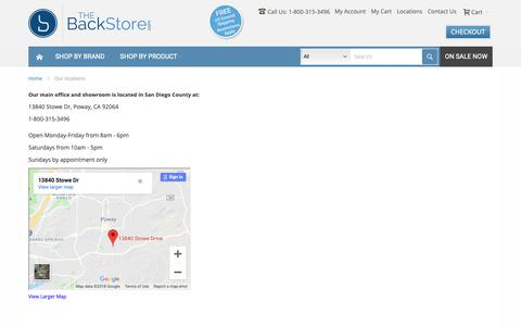 Screenshot of Locations Page thebackstore.com - Our locations - captured Oct. 4, 2018