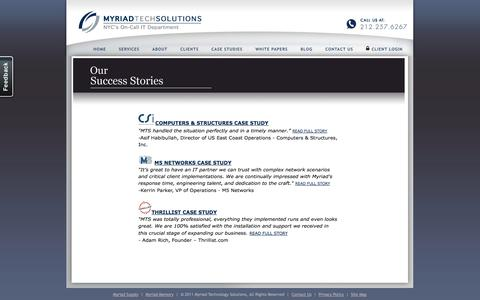 Screenshot of Case Studies Page myriadtechsolutions.com - Network Consultants NYC – Our Success Stories – Myriad Tech Solutions - captured Oct. 26, 2014