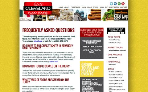 Screenshot of FAQ Page tasteclevelandfoodtours.com - Taste Cleveland Food Tours | Cleveland Food Tours | Frequently Asked Questions | Tremont | Little Italy | - captured Oct. 1, 2014