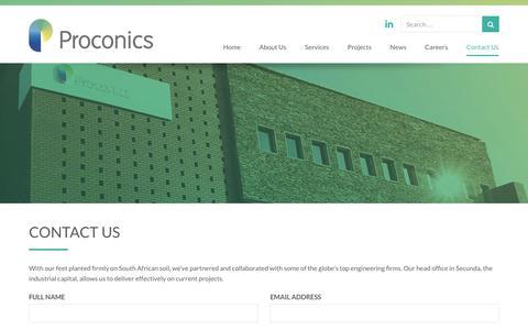 Screenshot of Contact Page proconics.co.za - Contact Us - Proconics - captured July 23, 2018