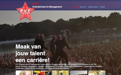 Screenshot of Home Page pvtentertainment.nl - Home | Zoetermeer | PVT Entertainment & Management - captured Sept. 26, 2018