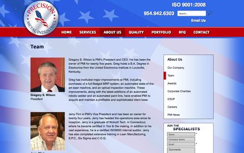 Screenshot of Team Page pmiquality.com - Team | Precision Metal Industries - captured Oct. 2, 2014