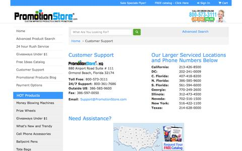 Screenshot of Contact Page promotionstore.com - Promotion Store ® - Under $1 Custom Promotional Item Giveaways - Customer Support - captured Sept. 23, 2018