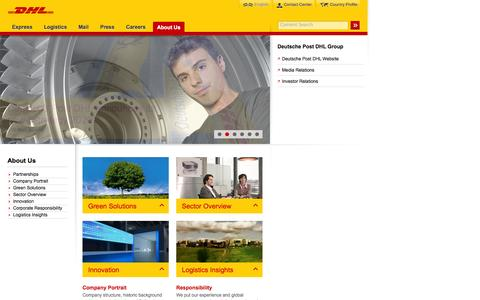 Screenshot of About Page dhl.com - DHL | About Us | English - captured Sept. 19, 2014