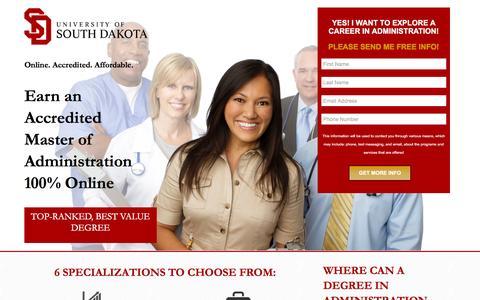 Screenshot of Landing Page usd.edu - Master of Administration - USD Online - captured April 21, 2016
