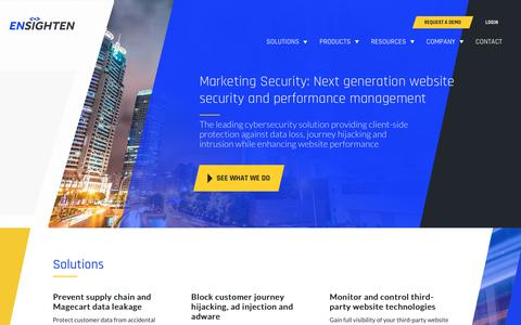 Screenshot of Home Page ensighten.com - Ensighten - Website Security and Performance Management - captured Aug. 28, 2019