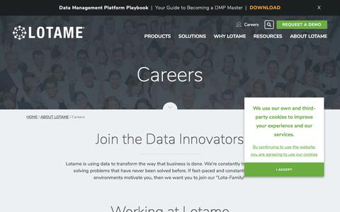 Screenshot of Jobs Page lotame.com - Job Opportunities & Careers at Lotame | Data Management Platform - captured June 3, 2017