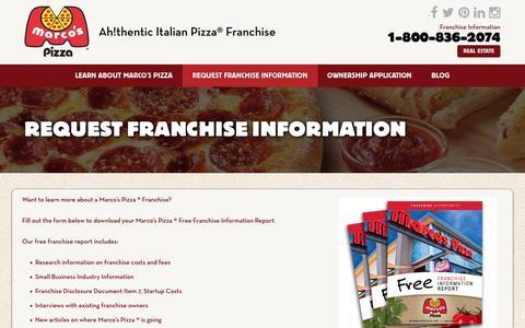 Screenshot of marcosfranchising.com - Request Franchise Information - Marcos Pizza Franchising - captured Jan. 25, 2017