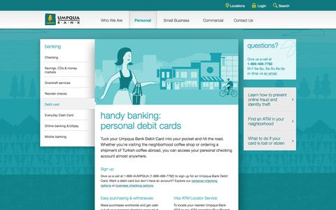 Umpqua Bank debit cards -- personal banking