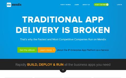 Screenshot of Home Page mendix.com - App Platform for The Enterprise | Mendix - captured July 12, 2014