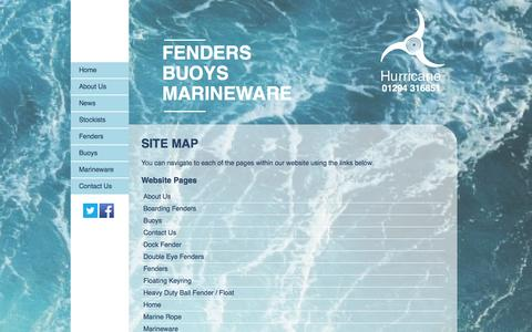 Screenshot of Site Map Page hurricanemouldings.co.uk - Hurricane Fenders manufacture a top quality range of fenders, buoys and marineware. - captured Feb. 1, 2016