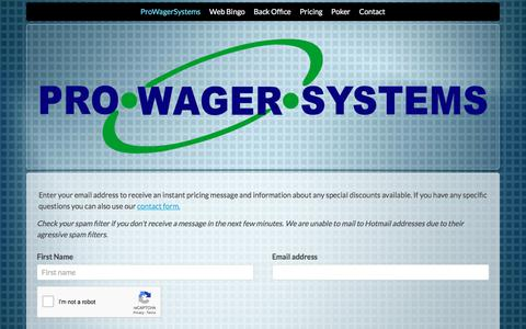 Screenshot of Pricing Page prowagersystems.com - ProWagerSystems - Enterprise Bingo Software - captured July 22, 2018