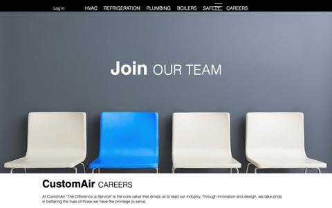 Screenshot of Jobs Page customair.ca - CustomAir | Mechanica Contractor Careers - captured Oct. 21, 2018